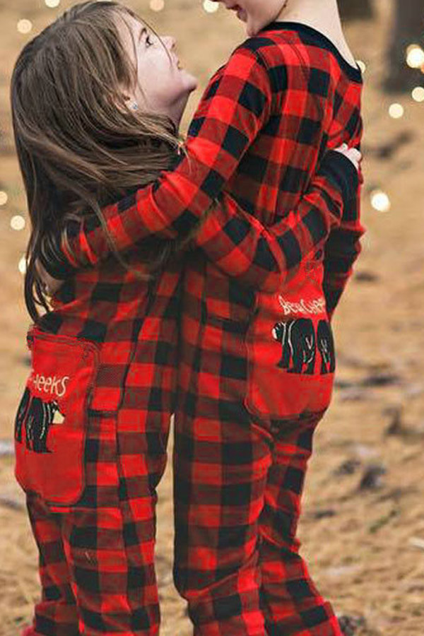 Lovely Family Plaid Printed Red And Black Boys One-piece Jumpsuit