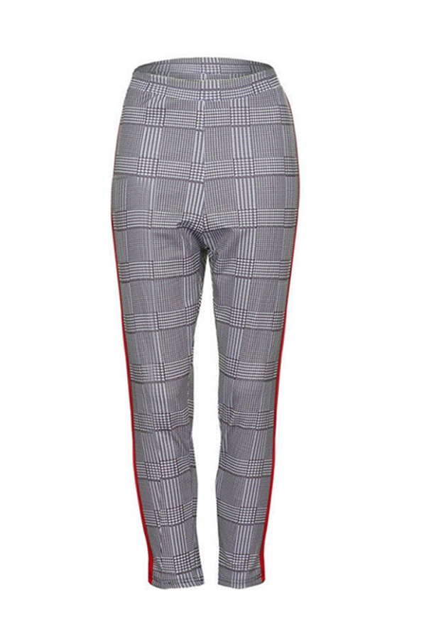 Lovely Trendy Plaid Printed Red Pants
