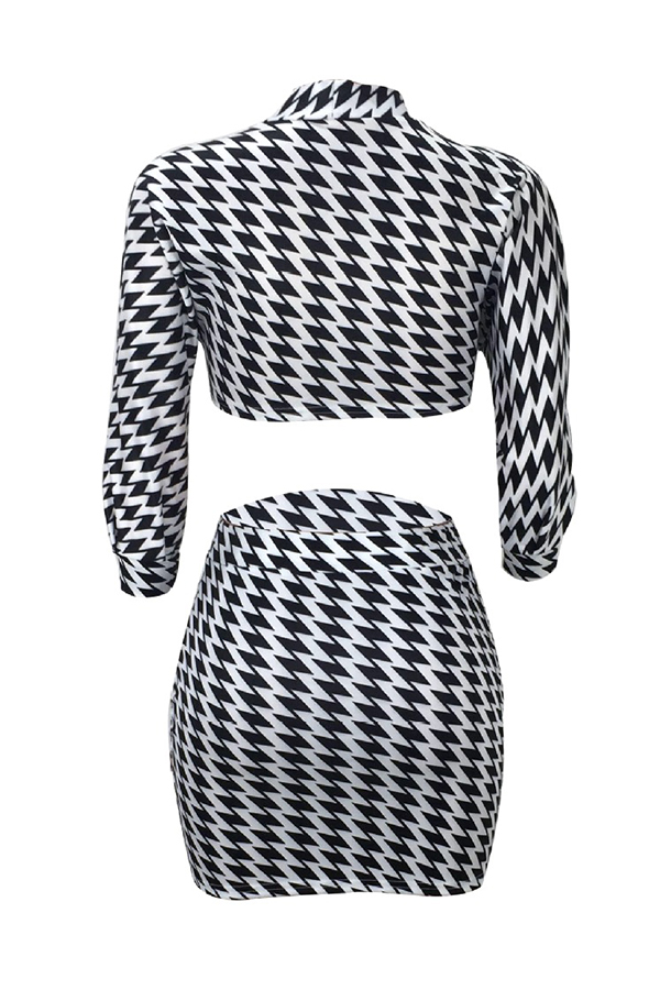 Lovely Trendy Geometric Printed Two-piece Skirt Set