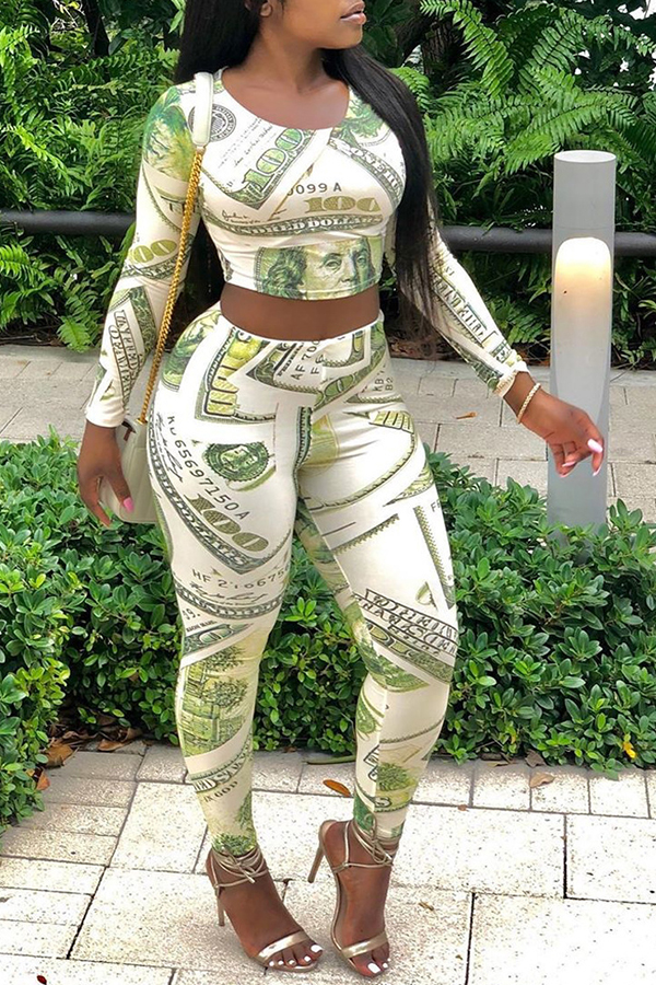 Lovely Trendy Printed Light Green Two-piece Pants Set