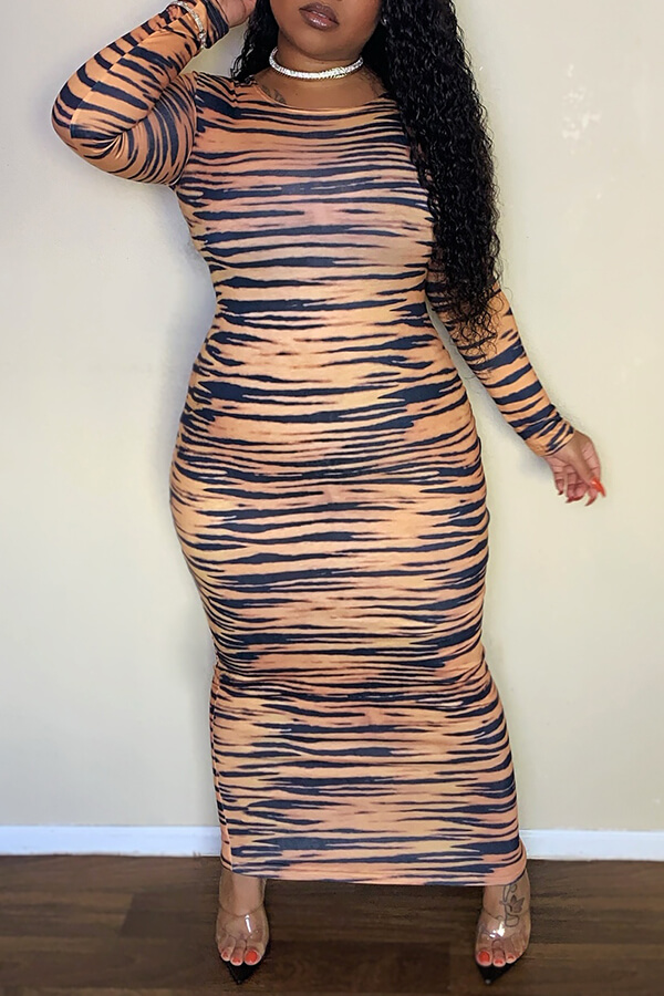 Lovely Casual Tiger Stripes Ankle Length Plus Size Dress
