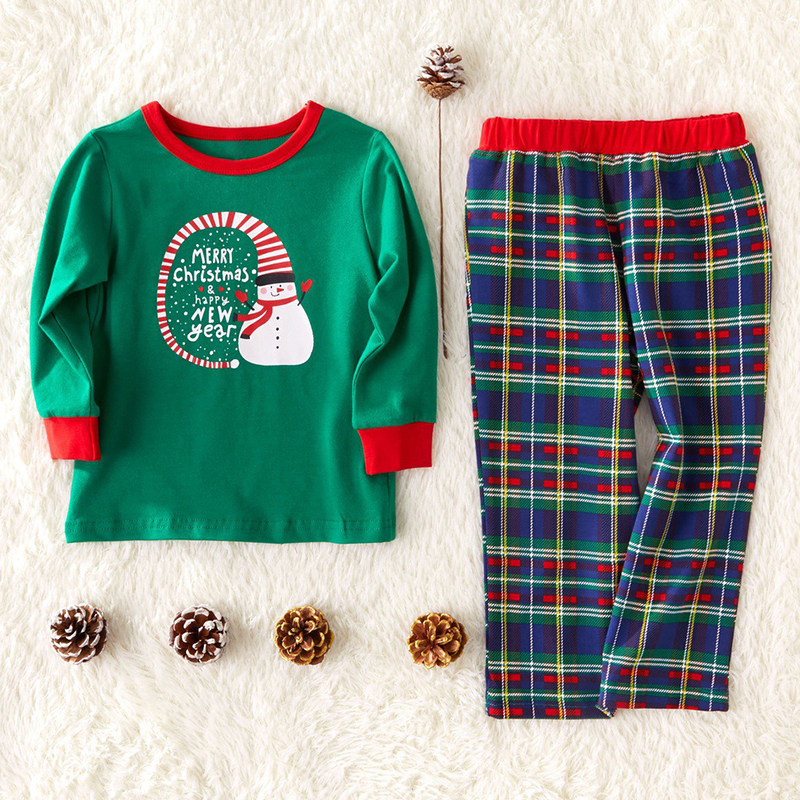 Lovely Family Printed Green Boys Two-piece Pants Set