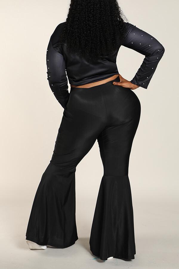 Lovely Casual Flounce Design Black Plus Size Pants