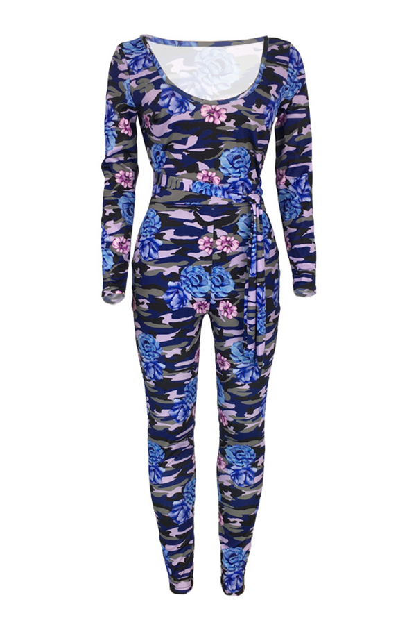 Lovely Trendy Camouflage Printed Blue One-piece Jumpsuit