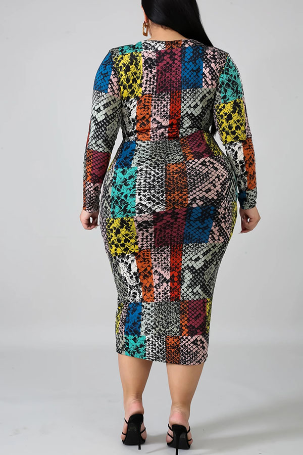 Lovely Casual Printed Multicolor Mid Calf Plus Size Dress