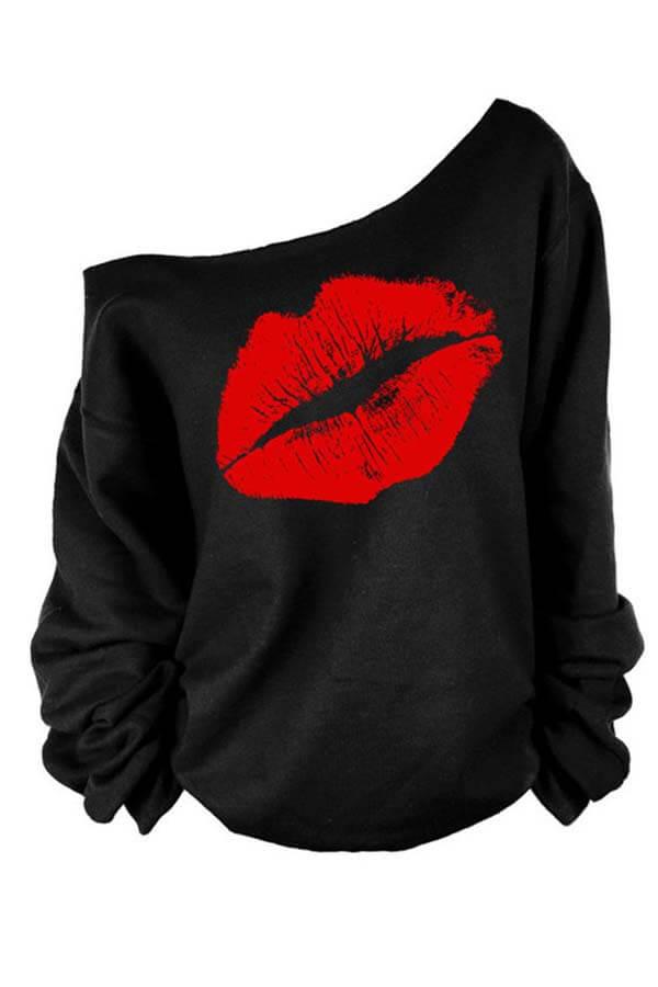 Lovely Casual Lip Printed Red Plus Size Sweatshirt Hoodie