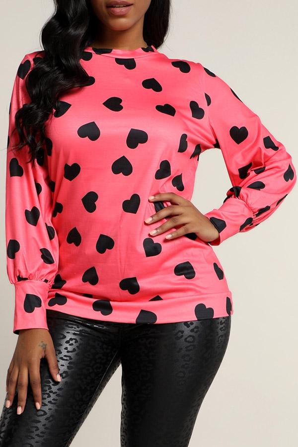 Lovely Casual Printed Watermelon Red Sweatshirt Hoodie