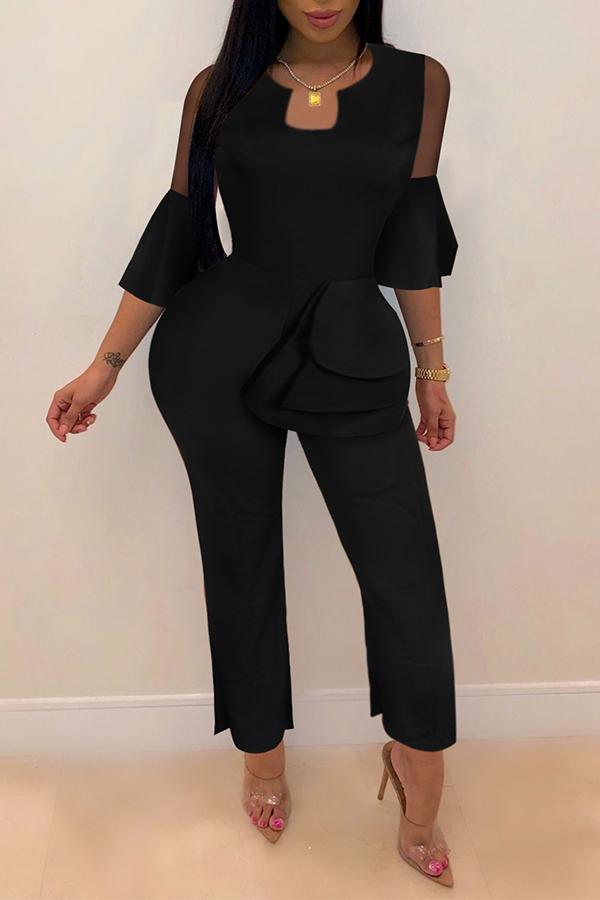 Lovely Trendy Flounce Design Black One-piece Jumpsuit