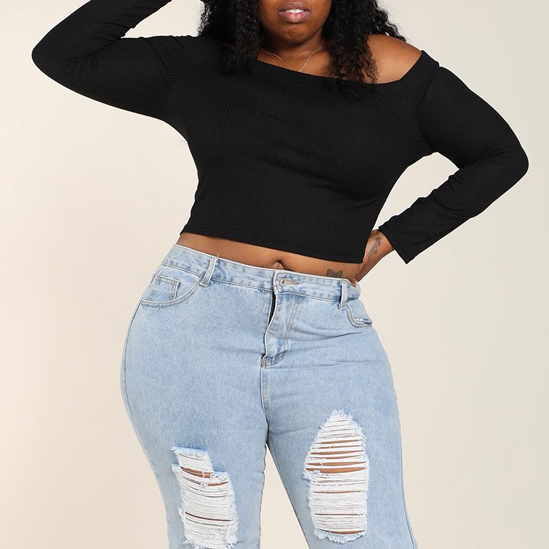 Lovely Casual Basic Black Plus Size T-shirt