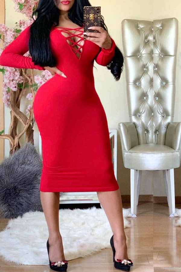 Lovely Trendy Hollow-out Red Knee Length Dress