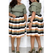 Lovely Casual Striped Army Green Knee Length Plus