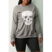 Lovely Casual Skull Printed Grey Sweatshirt