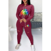 Lovely Casual Hooded Collar Lip Printed Purplish Red Two-piece Pants Set