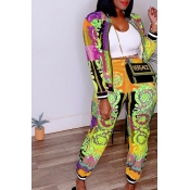 Lovely Leisure Printed Yellow Two-piece Pants Set