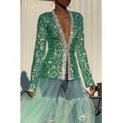 Lovely Trendy Patchwork Green Blazer