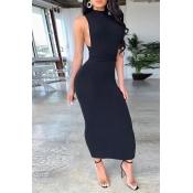 Lovely Sexy Bandage Design Black Ankle Length Dres
