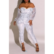 Lovely Sexy Sequined Silver Plus Size One-piece Ju