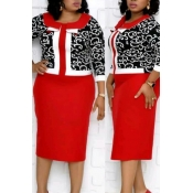 Lovely Casual Printed Red Knee Length Plus Size Dr
