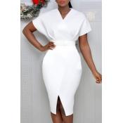 Lovely Trendy V Neck White Knee Length Dress(Witho