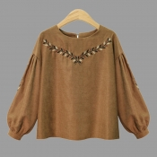 Lovely Casual Embroidered Design Light Tan Plus Si