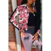 Lovely Trendy Camouflage Printed Light Pink Coat
