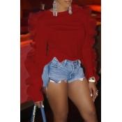 Lovely Work Flounce Design Red Blouse