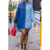 Lovely Casual Patchwork Blue Knee Length Dress
