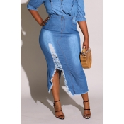 Lovely Trendy Broken Holes Blue Plus Size Skirt
