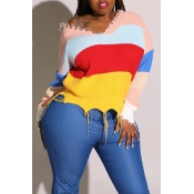 Lovely Casual Striped Multicolor Plus Size Sweater