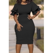 Lovely Casual O Neck Ruffle Black Knee Length Plus Size Dress