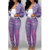 Lovely Casual Buttons Design Purple Two-piece Pant