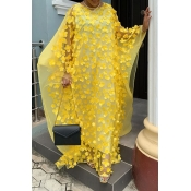 Lovely Casual Embroidery Design Yellow Floor Lengt
