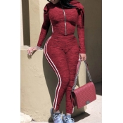 Lovely Casual Basic Striped Wine Red Two-piece Pan