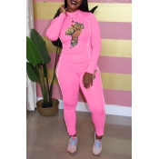 Lovely Chic Half A Turtleneck Printed Pink Two-piece Pants Set