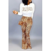 Lovely Casual Letter Printed Yellow Two-piece Pants Set