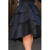 Lovely Chic Asymmetrical Black Knee Length Skirt