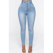 Lovely Casual Button Design Baby Blue Jeans
