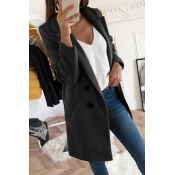 Lovely Casual Basic Buttons Design Black Coat