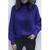 Lovely Trendy Loose Royal Blue Sweater