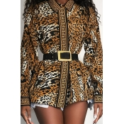 Lovely Chic Leopard Printed Blouse(Without Belt)