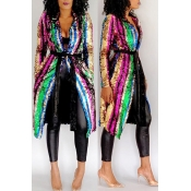 Lovely Trendy Sequined Long Multicolor Coat