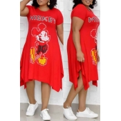 Lovely Leisure Printed Red  Mid Calf Plus Size Dre
