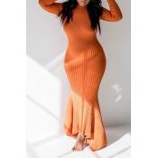 Lovely Casual Skinny Orange Floor Length Trumpet M