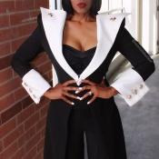 Lovely Chic Patchwork Black Coat