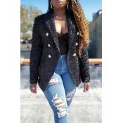 Lovely Leisure Buttons Design Black Blazer