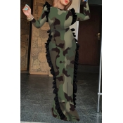 Lovely Trendy Skinny Camouflage Printed Army Green