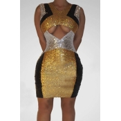 Lovely Casual Patchwork Gold Mini Dress