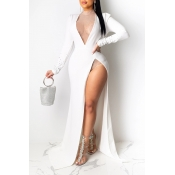 Lovely Party Side High Slit White Floor Length Eve