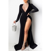 Lovely Party Side High Slit Black Floor Length Eve
