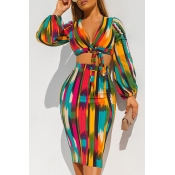 Lovely Casual Crop Top Printed Multicolor Two-piec